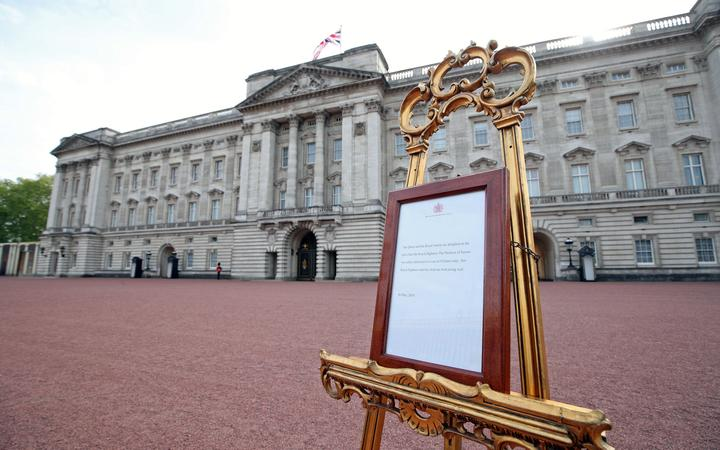 The official notice set up on an easel at the gates of Buckingham Palace announcing the birth of a son to Britain's Prince Harry, Duke of Sussex and Meghan, Duchess of Sussex.