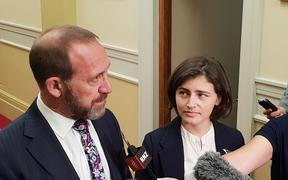 Andrew Little and Chloe Swarbrick after the announcement about the cannabis referendum.