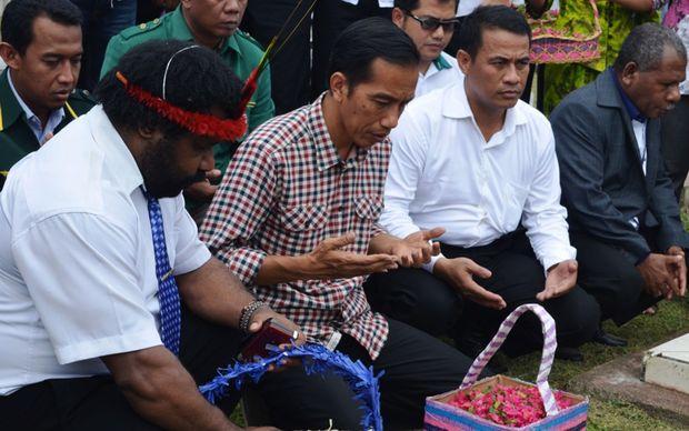 Indonesian presidential candidate Joko Widodo campaigning in Jayapura.