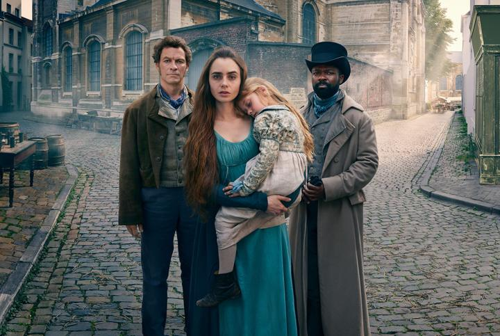 Dominic West, Lily Collins, Mailow Defoy and David Oyewelo in the new Les Misérables