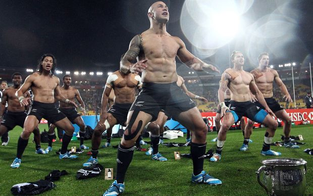 The All Black sevens team perform the Haka.