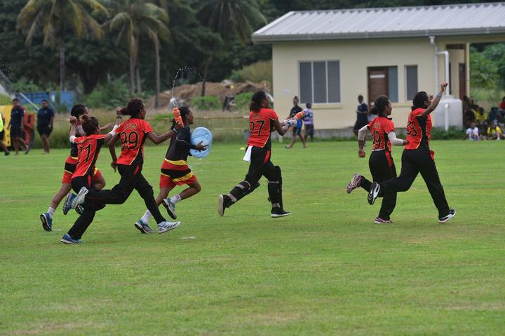 PNG celebrate after winning the ICC Women's Qualifier for East Asia and the Pacific 2019.