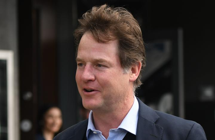 Former UK deputy Prime Minister and Facebook Head of Global Policy and Communication, Sir Nick Clegg, speak to media outside Dublin's Marker Hotel on the day Facebook CEO Mark Zuckerberg visited Dublin.