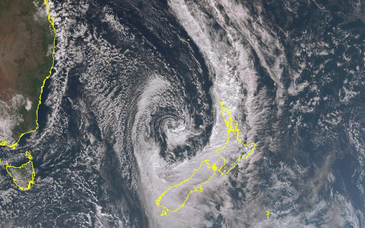 This satellite image was taken as winds were strengthening in Auckland and Northland yesterday.