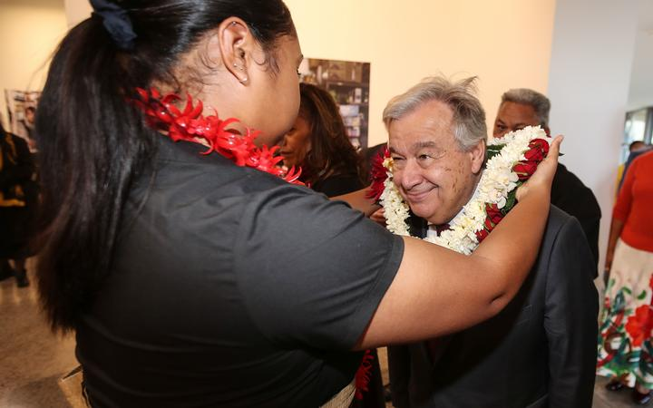 UN Secretary-General, Antonio Guterres, is welcomed to a Pasifika community event in Auckland