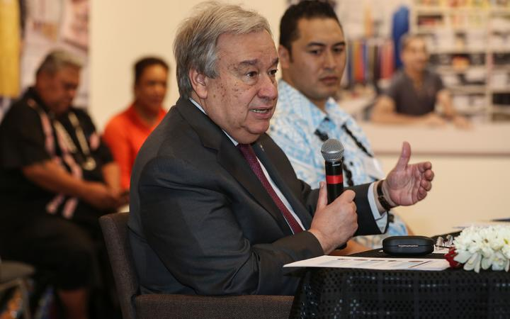 UN Secretary-General, Antonio Guterres, speaks at a Pasifika roundtable event in Auckland