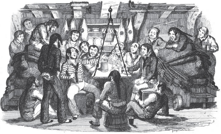 "Saturnday Night at Sea: An illustration from the book ""Songs, naval and national"" by Thomas Dibdin, 1841."