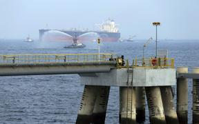 Sept. 21, 2016 file photo, an oil tanker approaches to the new Jetty during the launch of the new $650 million oil facility in Fujairah, United Arab Emirates.