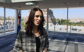 Prime Minister Jacinda Ardern arrives in Paris for the Christchurch Call summit.