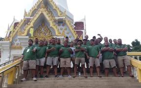 The Guam men's rugby team in Thailand for the Asian Rugby Championship Division Two tournament.