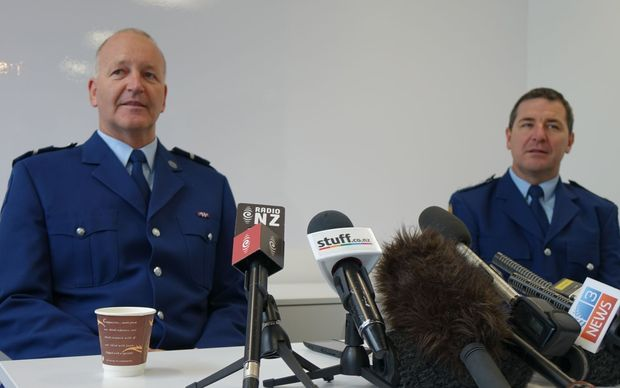 Senior Constable Adrian Oldham,  left, and Western Bay of Plenty area commander Inspector Clifford Paxton.