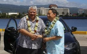 Samoa PM, Tuila'epa Sa'ilele Malielegaoi and China's Ambassador for Samoa, Chao Xiaoling at the presentation of supplies for the Pacific games
