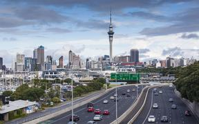 Auckland skyline from Northern Motorway