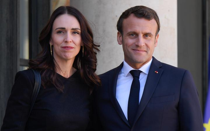 President of the French Republic, Emmanuel Macron welcomes Prime Minister Jacinda Ardern at Elysee Palace.