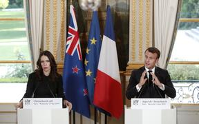 "Prime Minister Jacinda Ardern and French President Emmanuel Macron hold a press conference to launch the global ""Christchurch Call"" initiative to tackle the spread of extremism online."