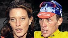 Crop of Emma O'Reilly and Lance Armstrong.