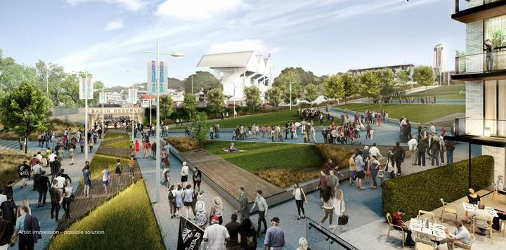 An artist's impression of one possibility for traffic management near the Basin Reserve.