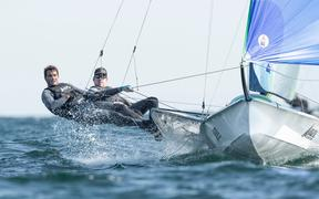New Zealand sailors Peter Burling (R) and Blair Tuke (L).