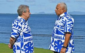UN Secretary General Antonio Guterres with Fijian Prime Minister Frank Bainimarama in Fiji May 2019