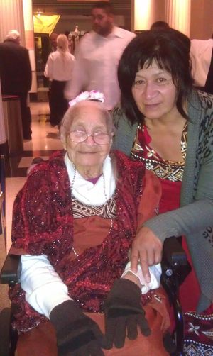 Mele Ioelu, aged 103, with her daughter Afioa Sadiq at the opening of 'Entangled Islands - Samoa, New Zealand and the First World War'.