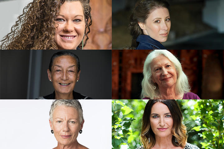 Sacha McMeeking, Lizzie Marvelly (top), Georgina Beyer, Dame Anne Salmond (middle), Kim Hill, Paula Penfold (bottom)