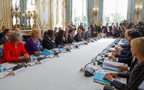 World leaders, including British Prime Minister Theresa May, Norway's Prime Minister Erna Solberg, Senegal's President Macky Sall, NZ Prime Minister Jacinda Ardern, French President Emmanuel Macron, King Abdullah II of Jordan and Canadian Prime Minister Justin Trudeau attend the 'Christchurch call'.