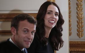 New Zealand's Prime Minister Jacinda Ardern (R) and French President Emmanuel Macron (L) launch Christchurch Call at the Elysee Palace in Paris.