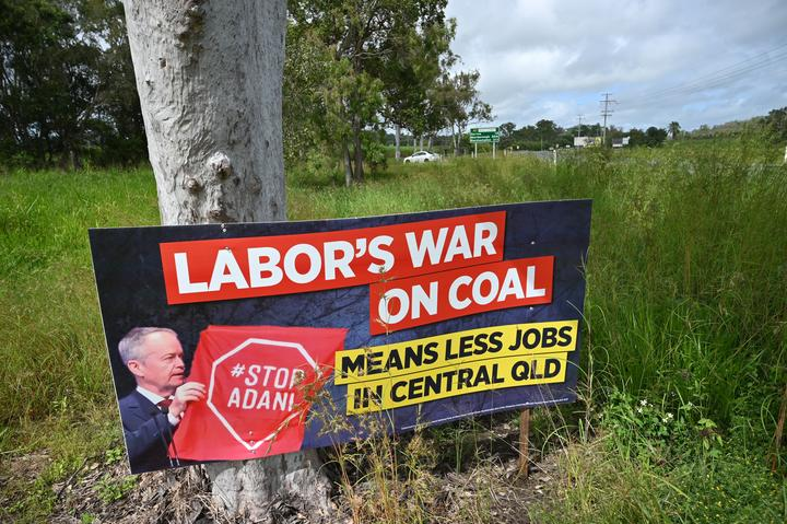 Photo taken on May 3, 2019 shows an anti-Labor party election sign in Bowen in northern Queensland.
