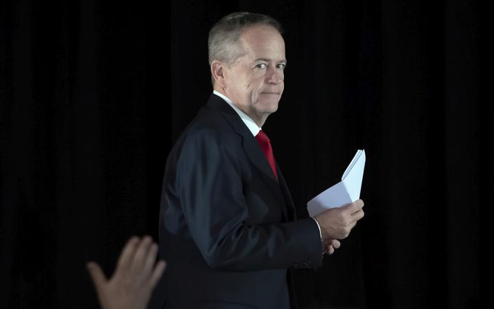 Australian Labor leader Bill Shorten leaves the stage after he conceded defeat to Prime Minister Scott Morrison in the country's general election. Shorten made the announcement to supporters of his opposition Labor party late Saturday night in Melbourne.