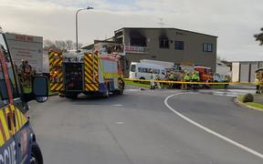 The scene of a fire at a Pukekohe truck rental shop which left one person critically injured.