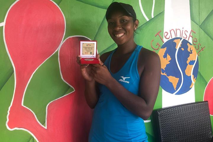 PNG's Abigail Tere-Apisah celebrates her win at the US$25,000 singles event in Singapore.