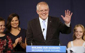 Australian Prime Minister Scott Morrison with his family after the federal election on the weekend.