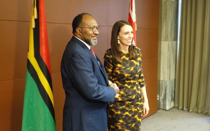 Vanuatu's prime minister Charlot Salwai meets New Zealand Prime Minister Jacinda Ardern.