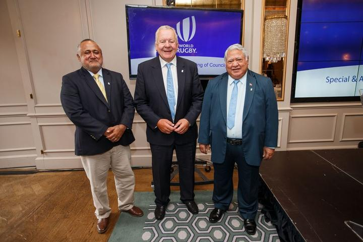 Fiji Rugby Union Chair Francis Kean, World Rugby Chair Bill Beaumont and Samoa Rugby Union Chair and PM, Tuilaepa Sailele Malielegaoi