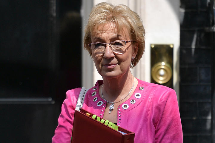 Britain's Leader of the House of Commons Andrea Leadsom leaves after attending the weekly meeting of the Cabinet at 10 Downing Street.
