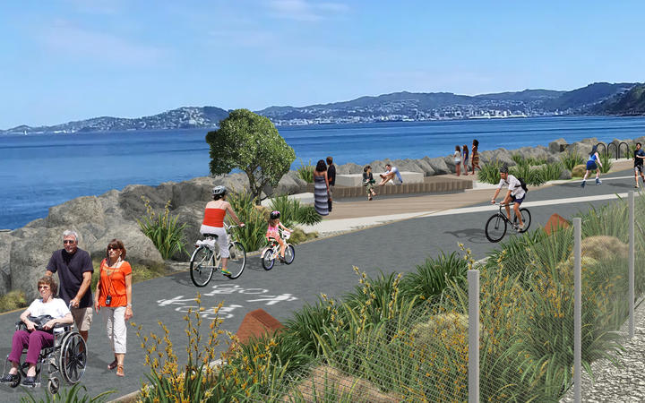 A rendering of what the Ngauranga to Petone section could look like.