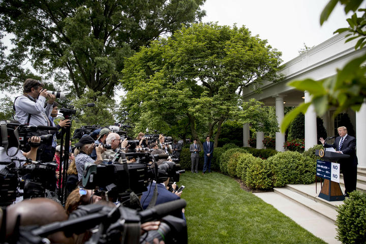 President Donald Trump speaks in the Rose Garden at the White House in Washington, Wednesday, May 22, 2019.