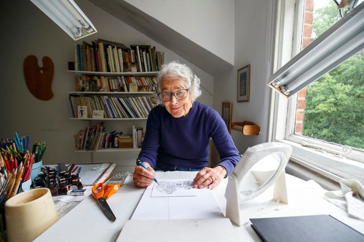"Judith Kerr, who wrote and illustrated the famous children's book ""The Tiger Who Came To Tea"" poses for a photograph at her home in west London on June 12, 2018."