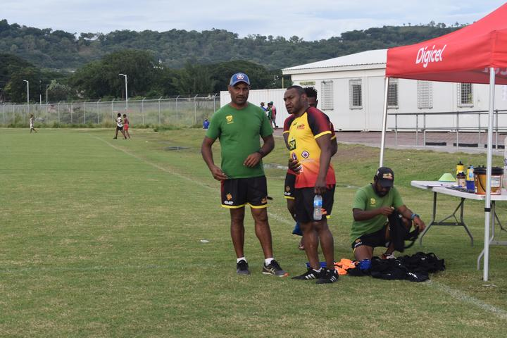 PNG Hunters coach Michael Marum with Kumuls legend Stanley Gene.