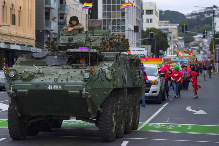A Defence Force vehicle in this year's Wellington Pride Parade
