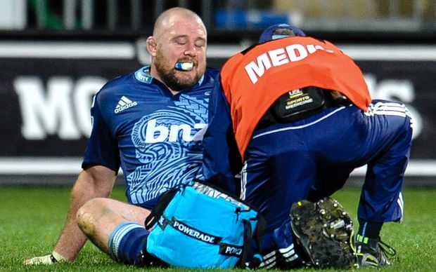 Tony Woodcock of the Blues gets some medical attention during their Super rugby match vs the Crusaders in Christchurch in July.