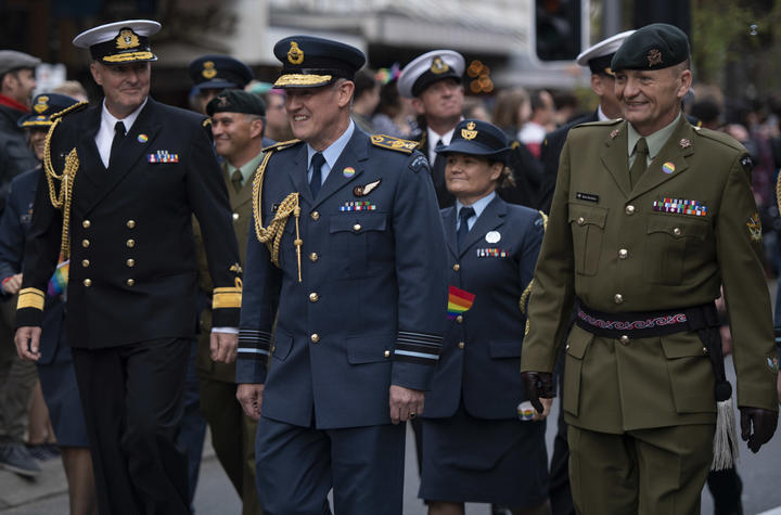 Air Marshal Kevin Short is the first Chief of Defence Force to march in the Wellington International Pride Parade