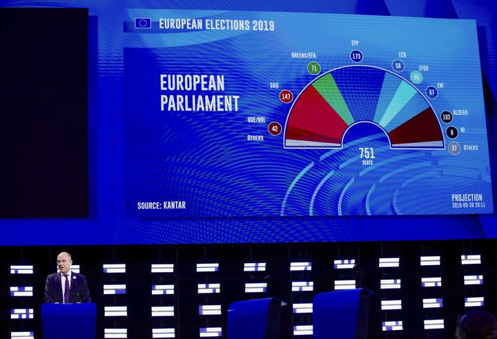 A presenter shows ongoing projections of results on a large screen in the press room at the European Parliament in Brussels.