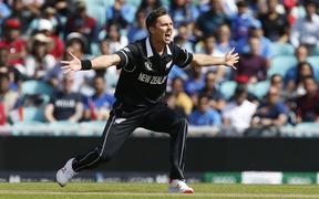 Trent Boult appeals for a wicket in the Black Caps World Cup warm up match against India. 27.5.19