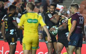 Etene Nanai-Seturo celebrates scoring a try in the Chiefs vs Reds Super Rugby match at Waikato Stadium.