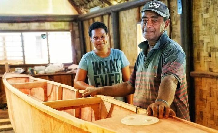 Team leaders for the 100 Traditional Sailing Canoes project, Adi Tulia Nacola (L) and traditional boat builder from Lau, Amena