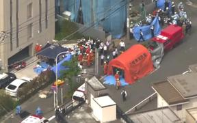 A screen shot of footage from Japan national broadcaster NHK that it says shows the scene of the attack.