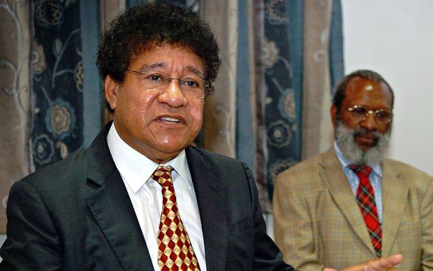 Papua New Guinea's Attorney General Ano Pala and the man he replaced in the job, Kerenga Kua.