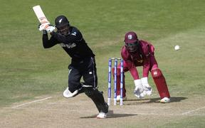 New Zealand's Tom Blundell plays a shot during the 2019 Cricket World Cup warm up match between the West Indies and New Zealand in Bristol.