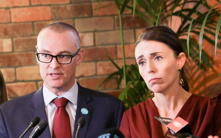 Health Minister David Clark and Prime Minister Jacinda Ardern at the government's response to the mental health inquiry report.